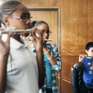 File: A new study finds students who study music by playing instruments show significant improvement in speech processing and reading scores.