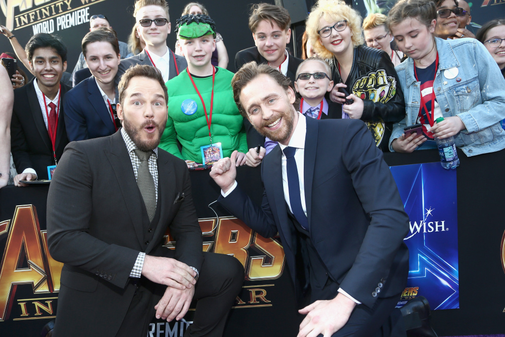 Actors Chris Pratt (L) and Tom Hiddleston attend the Los Angeles Global Premiere for Avengers: Infinity War on April 23, 2018 in Hollywood, California.