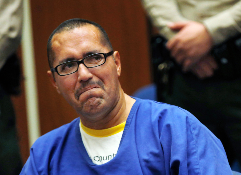Luis Vargas, who had been in prison for 16 years, reacts in court as he is exonerated in this Monday, Nov. 23, 2015 file photo taken in Los Angeles. Vargas was one of five men who were exonerated in California in 2015. A report out Wednesday found that the U.S. saw a record number of exonerations last year.