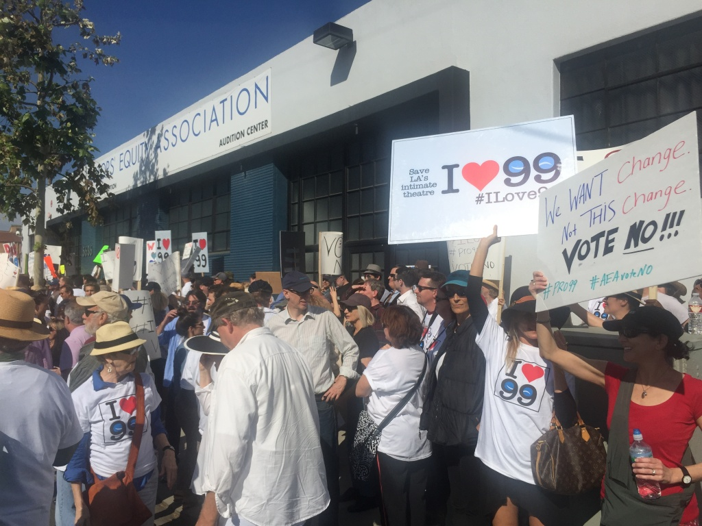 Actors protest in support of 99-seat theaters outside the Actors Equity Association's headquarters in North Hollywood.