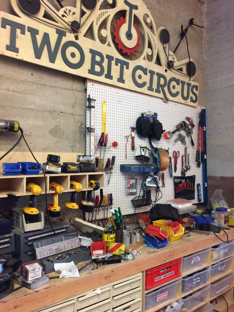 On any given day at Two Bit Circuses' headquarters their staff is sawing, welding, building electronics, experimenting with VR, writing code and even etching their own circuits.