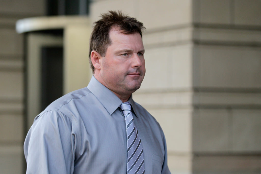 Former Major League Baseball player Roger Clemens leaves federal court following jury selection in his perjury trial on July 6, 2011 in Washington, DC.
