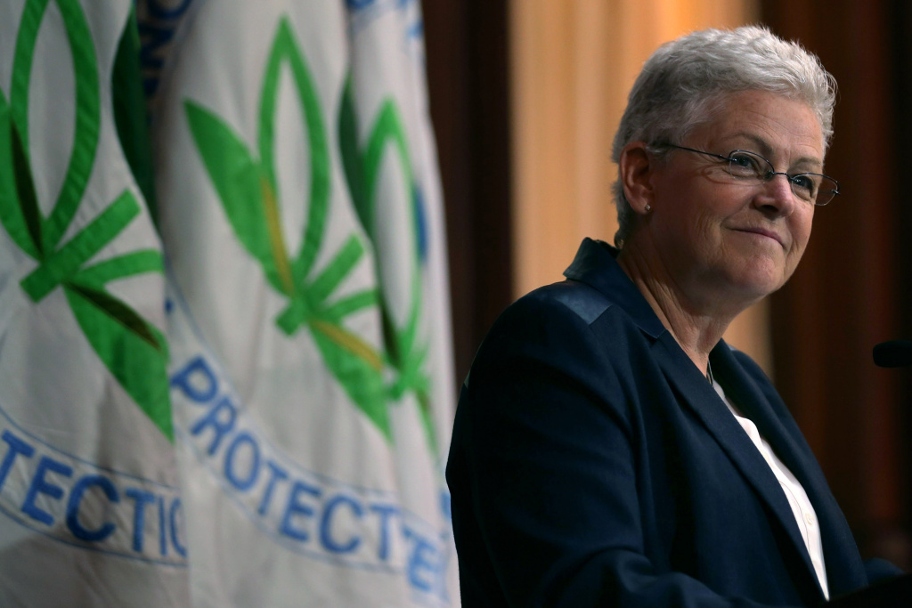 WASHINGTON, DC - JUNE 02:  U.S. Environmental Protection Agency Administrator Gina McCarthy announces new regulations for power plants at EPA headquarters June 2, 2014 in Washington, DC. Bypassing Congress and using President Barack Obama's 'Climate Action Plan,' the new regulations will force more than 600 existing coal-fired power plants, the single largest source of greenhouse gas emission in the country, to reduce their carbon pollution 30 percent from 2005 levels by 2030.  (Photo by Chip Somodevilla/Getty Images)