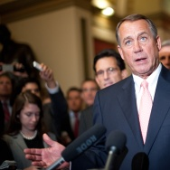 US House Speaker John Boehner speaks to the press at the US Capitol in Washington on October 1, 2013. The White House budget director late September 30, 2013 ordered federal agencies to begin closing down after Congress failed to pass a budget to avert a