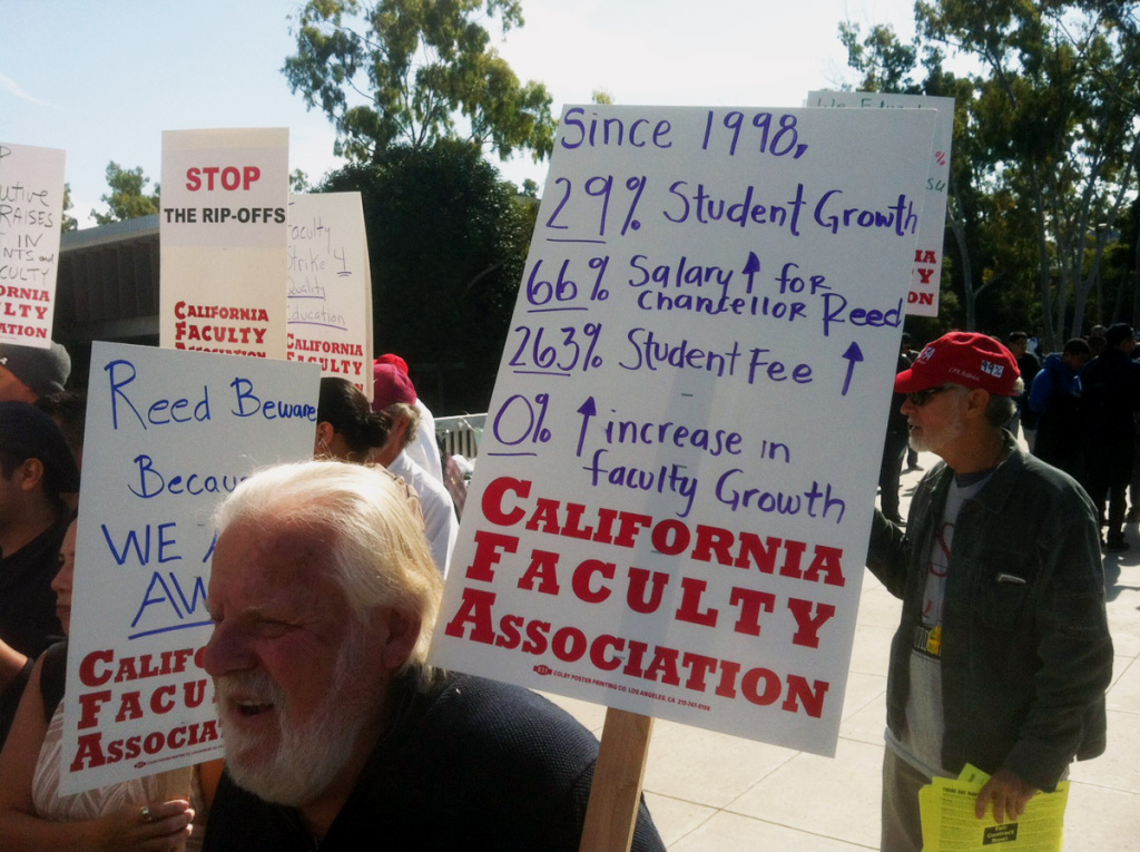 Faculty union members protest at Cal State Dominguez Hills. California State University trustees plan to revisit one of their most contentious issues this week: how much to pay campus presidents.