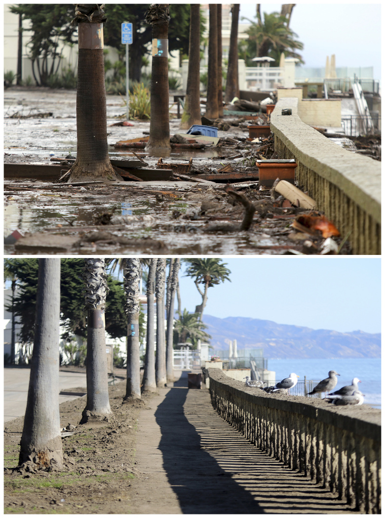 This combination of photos shows debris and mud piled up at Butterfly Beach, top, after heavy rain brought flash flooding in Montecito on Jan. 9, 2018, and the beach after cleanup taken from a similar view on Monday, Jan. 22, bottom.