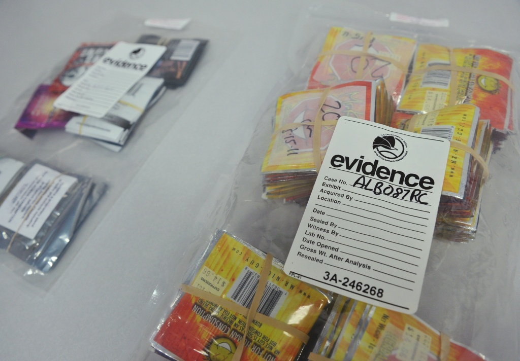 Synthetic drugs in evidence bags are seen during a press conference at DEA Headquarters on June 26, 2013 in Arlington, Virginia.