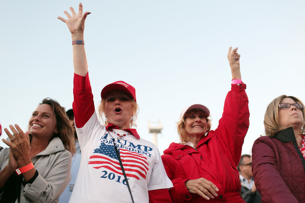 FILE: Trump supporters attend a rally for Donald Trump at the Pacific Amphitheater in Costa Mesa on April 28, 2016.