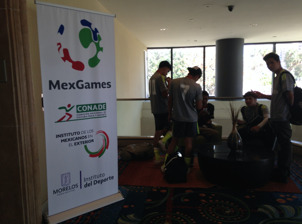 Young athletes gather at the Renaissance Long Beach Hotel, where the MexGames are headquartered. The games are sponsored by the Mexican government as a way of drawing out talented young Mexican-American athletes interested in competing for Mexico in various sports.