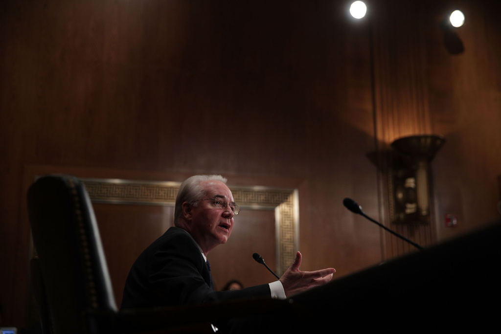 Health and Human Services Secretary Nominee Rep. Tom Price (R-GA) testifies during his confirmation hearing January 17, 2017 on Capitol Hill in Washington, DC.