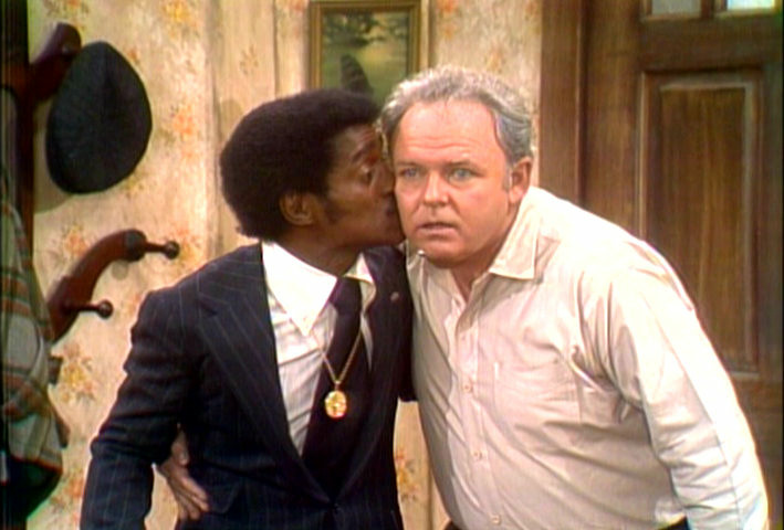 "Sammy Davis, Jr. kisses Carrol O'Connor on ""All in the Family"""
