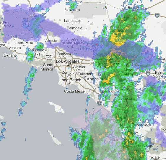 A radar image showing a storm moving through Southern California that left behind rain/snow.