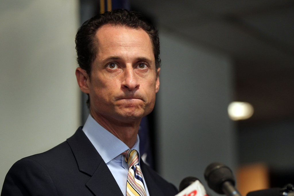 Rep. Anthony Weiner (D-NY) announces his resignation June 16, 2011 in the Brooklyn borough of New York City. The resignation comes 10 days after the congressman admitted to sending lewd photos of himself on Twitter to multiple women.
