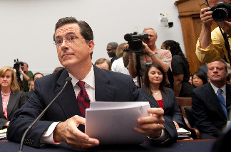 Television host and comedian Stephen Colbert of Comedy Central's 'The Colbert Report' arrives to testify on US farm workers before the Subcommittee on Immigration, Citizenship, Refugee, Border Security and International Law on Capitol Hill in Washington, DC, September 24, 2010.