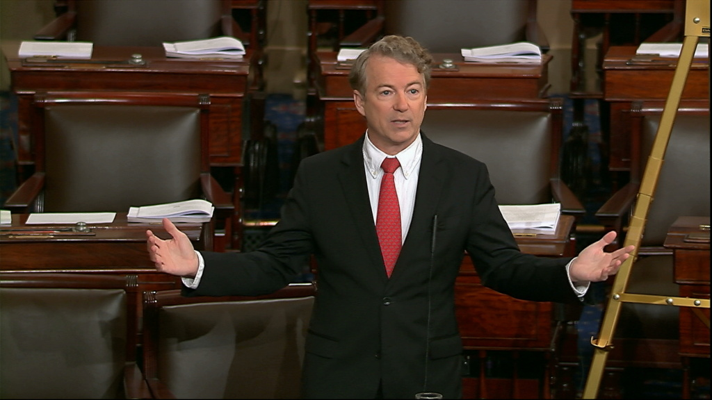 In this image from video from Senate Television, Sen. Rand Paul, R-Ky., speaks on the floor of the Senate Thursday, Feb. 8, 2018, on Capitol Hill in Washington.
