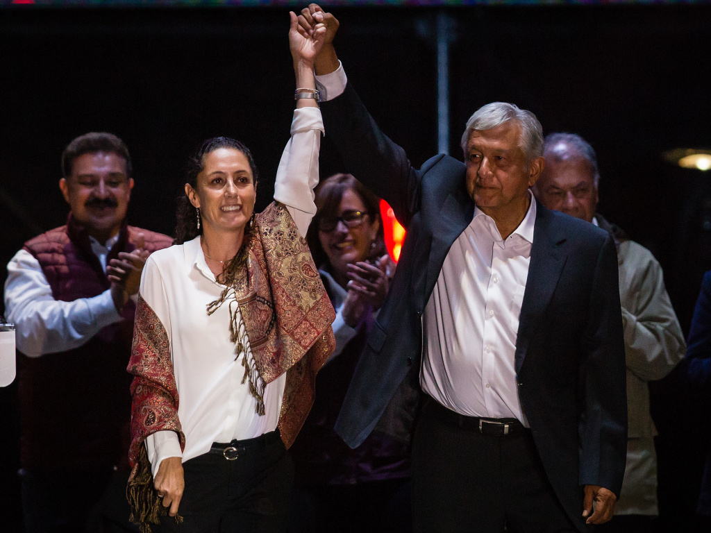 Claudia Sheinbaum, the leading candidate for mayor of Mexico City and Andres Manuel Lopez Obrador, the frontrunner for president, attend the final event of the 2018 campaign in Mexico City on Wednesday.