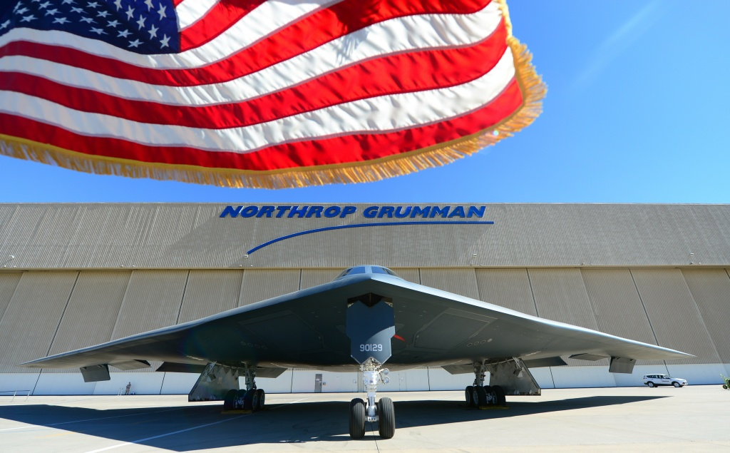 A B-2 Stealth Bomber sits at the Aircraft Integration Center of Excellence in Palmdale, California on July 17, 2014. The US Air Force and manufacturer Northrop Grumman celebrated the 25th anniversary of the plane's first flight.
