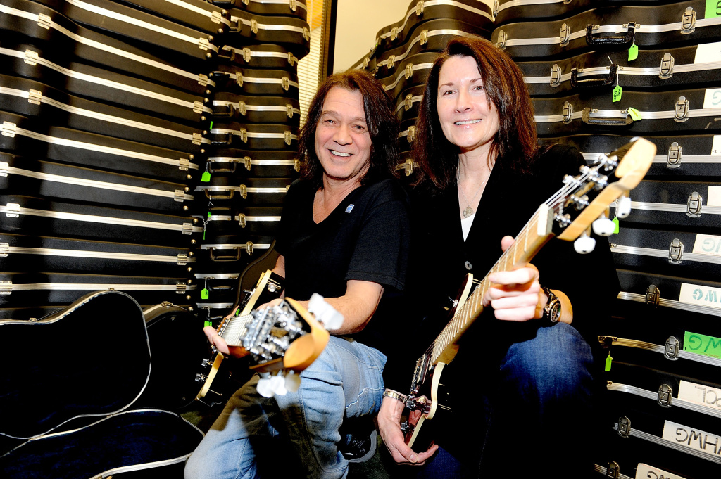 Musician Eddie Van Halen donates 75 electric guitars from his personal collection to Felice Mancini, Executive Director The Mr. Holland's Opus Foundation, a non-profit organization that supports music education in public schools across the country.