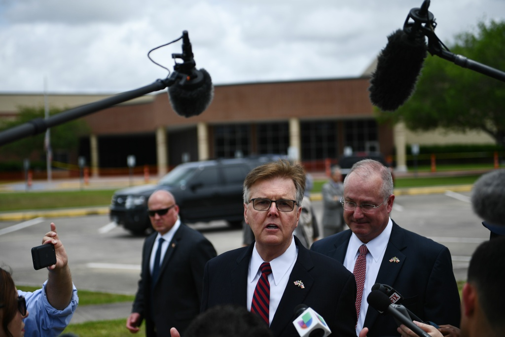 Texas Lieutenant Governor Dan Patrick speaks to the press on the grounds of Santa Fe High School on May, 20, 2018, in Santa Fe, Texas.