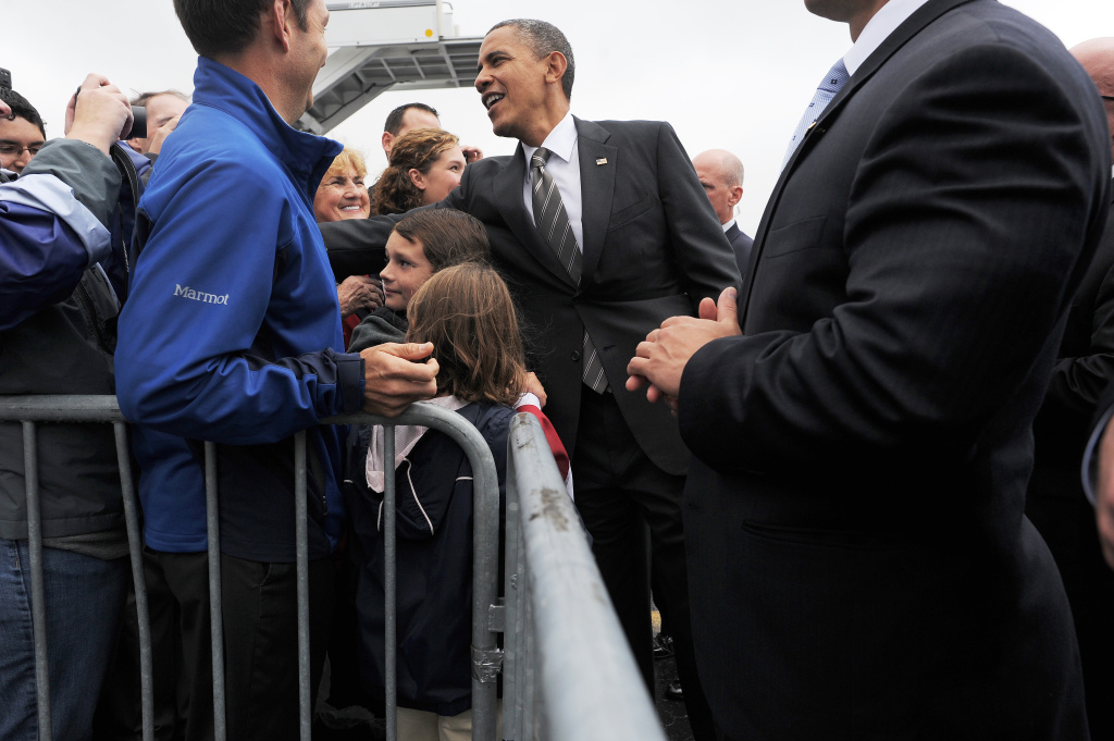 US President Barack Obama greets supporters at Toledo Express Airport in Bowling Green, Ohio.