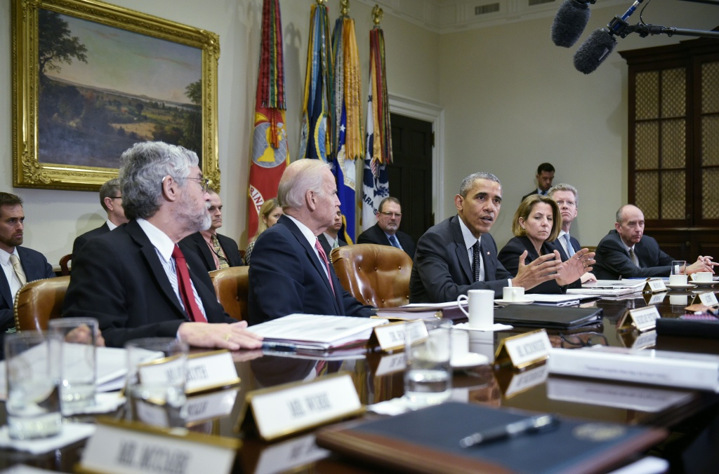 US President Barack Obama speaks during a meeting with members of his national security team on cybersecurity on February 9, 2016.