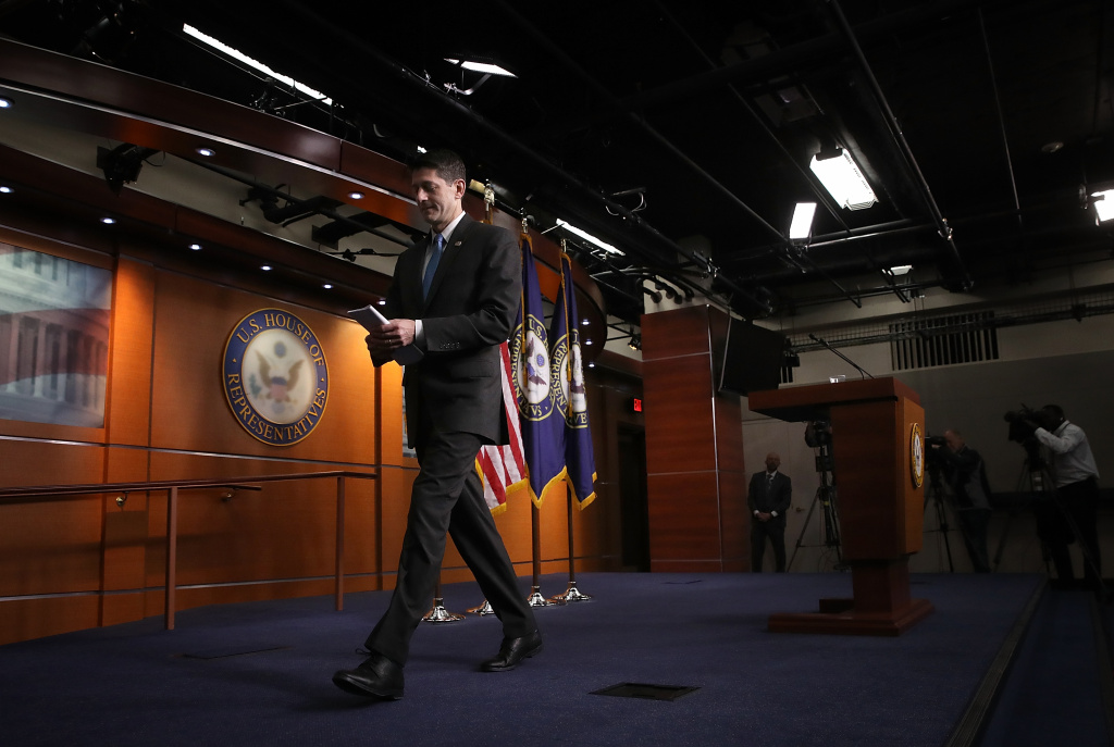 WASHINGTON, DC - APRIL 12:  U.S. Speaker of the House Paul Ryan (R-WI) leaves his weekly press conference April 12, 2018 in Washington, DC. Ryan answered a range of questions related primarily to his announcement yesterday that he will not run for office again in the 2018 midterm election.  (Photo by Win McNamee/Getty Images)