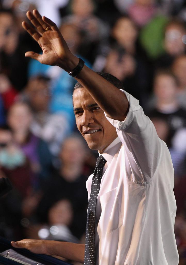 U.S. President Barack Obama greets college students at the University of Colorado Denver campus on October 26, 2011.