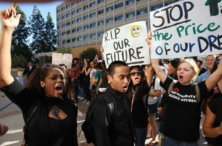 File photo: University of California Los Angeles (UCLA) students and supporters protest as the UC Board of Regents votes to approve a 32 percent tuition hike next year on November 19, 2009 in Los Angeles, California.
