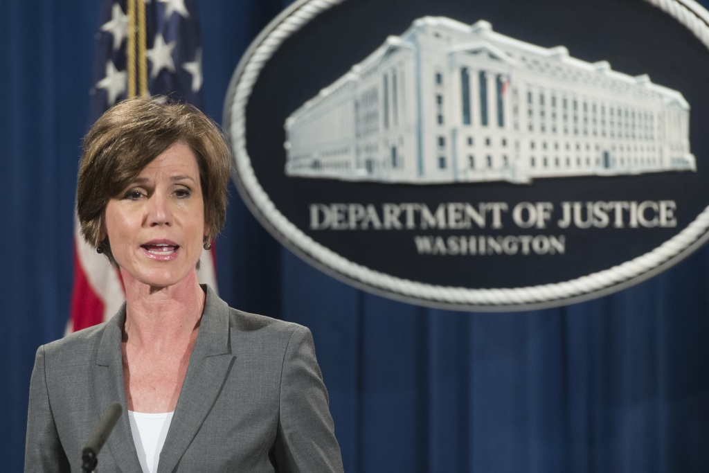 Deputy Attorney General Sally Yates speaks during a press conference to announce environmental and consumer relief in the Volkswagen litigation at the Department of Justice in Washington, DC.