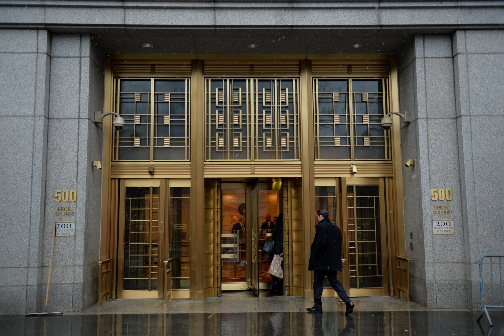 The entrance to Federal Court where the trial of wine dealer Rudy Kurniawan is starting December 10, 2013 in New York. Kurniawan is accused of masterminding a lucrative scheme to sell fake vintage wine in New York and London.