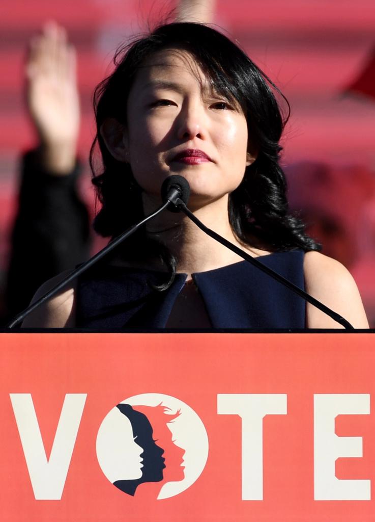 San Francisco Supervisor Jane Kim speaks during the Women's March