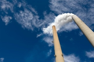 The smoke stacks at American Electric Power's (AEP) Mountaineer coal power plant in New Haven, West Virginia.