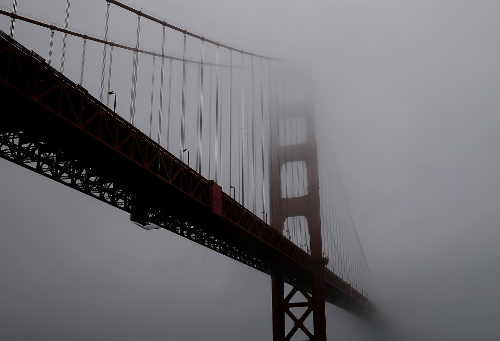 A view of the north tower of the Golden Gate Bridge.