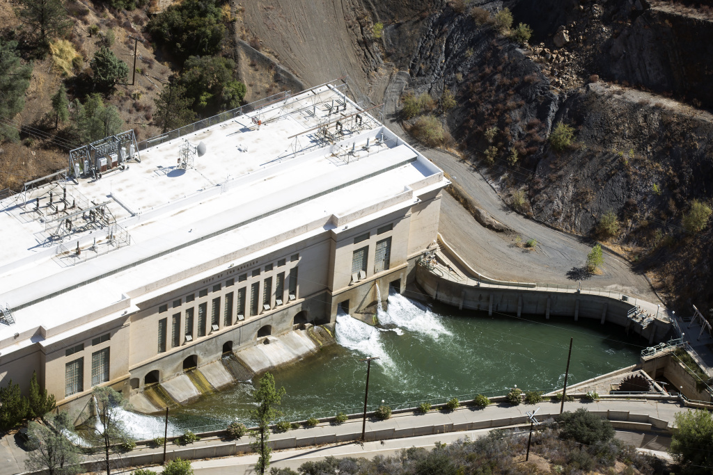 The Los Angles Aqueduct powers turbines inside a Los Angeles Department of Water and Power hydroelectric power plant in San Francisquito Canyon On Sept. 28, 2016.