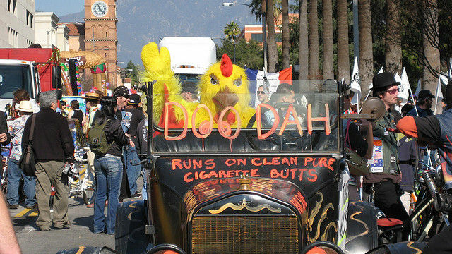 Parader with a cork headdress marching in Pasadena's Doo Dah Parade in 2008.