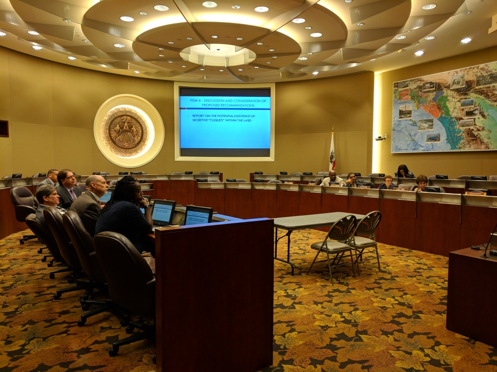 The L.A. County Sheriff's Department Civilian Oversight Commission takes up reports of secret deputy societies at its meeting on July 26, 2018.