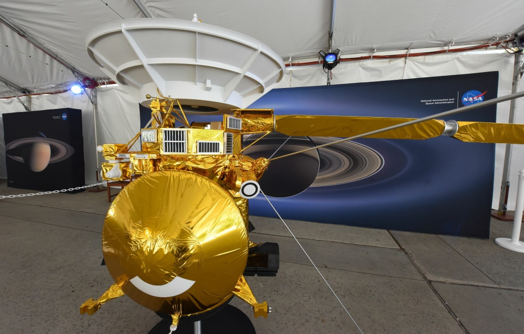 A model of the Cassini spacecraft is seen at NASA's Jet Propulsion Laboratory (JPL) September 13, 2017 in Pasadena, California.