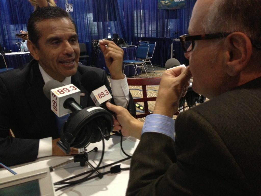 Mayor Antonio Villaraigosa, seen here with KPCC's Larry Mantle, is off to Iowa as the keynote speaker at the Jefferson-Jackson Dinner.