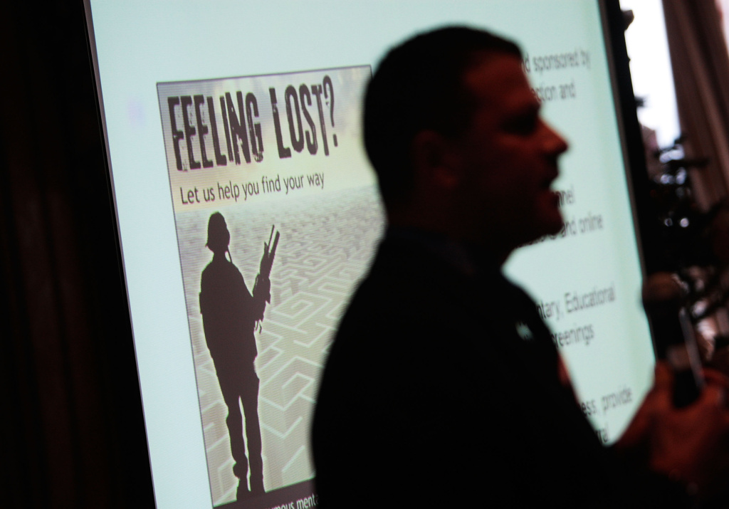 Program facilitator Dan McSweeney gives a presentation about PTSD treatment December 15, 2009 at Fort Hamilton Army Garrison in Brooklyn, New York.  The presentation and associated questionaire are part of the Military Pathways program, a free, anonymous mental health and alcohol self-assessment for troops, civilian employees, and their families.