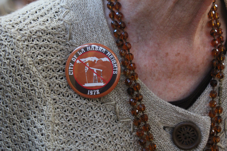 A button worn by Judy Hathaway-Francis in La Habra Heights. January 31, 2015.