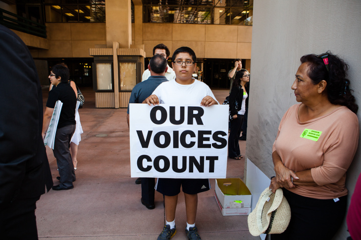 Anaheim resident, Gabriel Bermirez, 14, says that he sympathizes with feelings of frustration among the Latino community with city leadership and police.