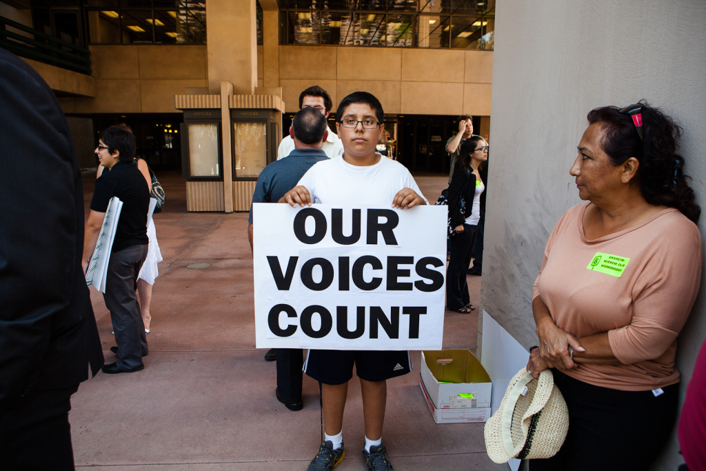 Anaheim has scheduled eight public meetings on the mapping of city council districts even as a lawsuit challenging the city's council election system is headed for a trial.  (File photo: Anaheim resident, Gabriel Bermirez, 14, says that he sympathizes with feelings of frustration among the Latino community with city leadership and police).