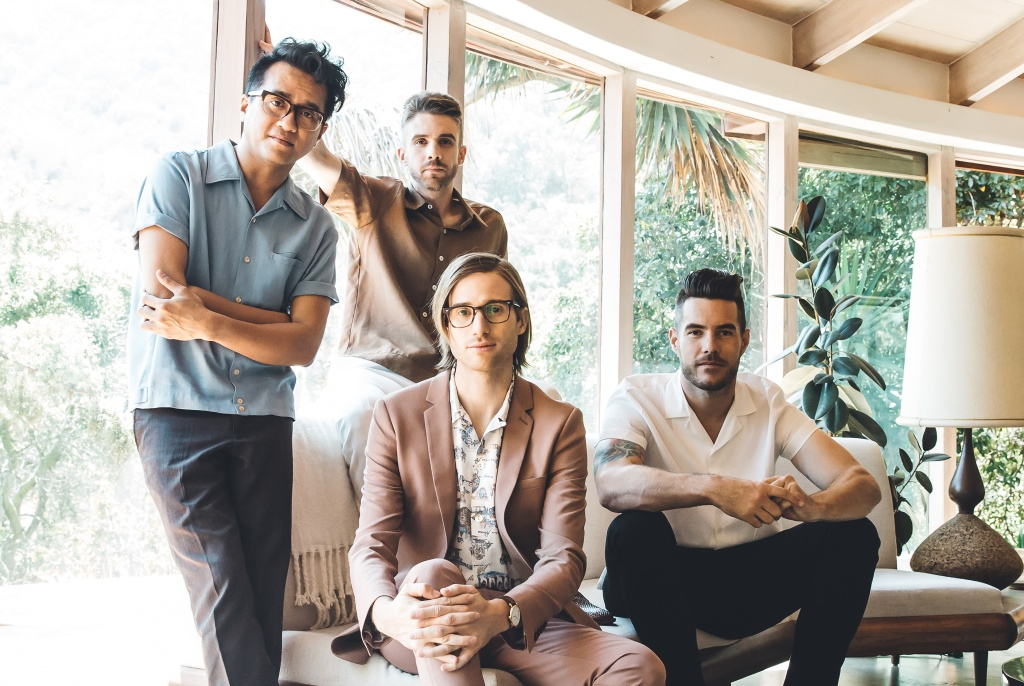A/J Jackson (vocals), Aaron Sharp (guitar), Dak Lerdamornpong (bass), and Greg Erwin (drums) make up the band Saint Motel.