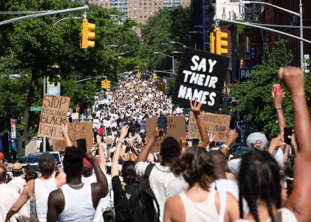 Thousands fill the streets in support of Black Trans Lives Matter and George Floyd on June 14, 2020 in the Brooklyn borough of New York City.