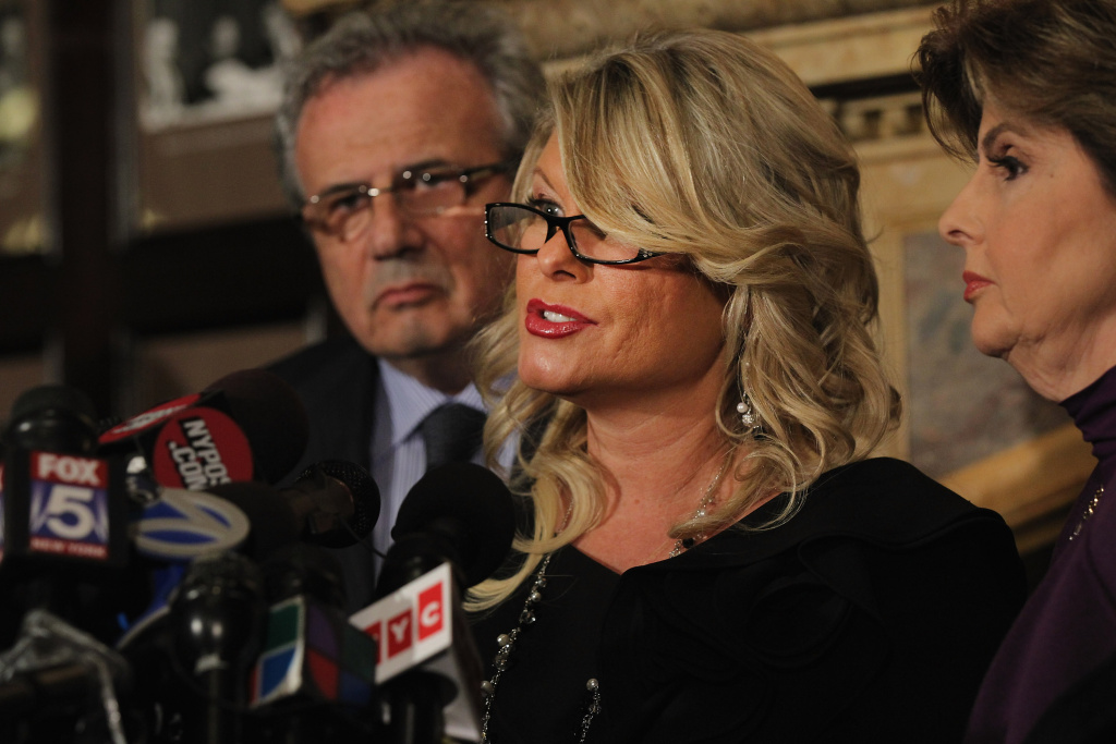 Sharon Bialek speaks during a news conference to accuse Republican presidential candidate Herman Cain of sexual harassment on Nov. 7, 2011, in New York City. She stated she is speaking out because she wanted to give