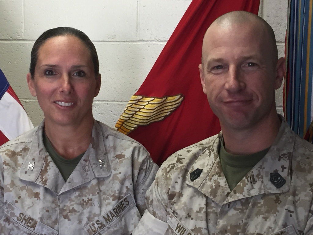 Col. Bobbi Shea (left) commands the 4,500 Marines of the 1st Marine Expeditionary Force's Headquarters Group at Camp Pendleton. Sgt. Major David Wilson (right) is her senior enlisted advisor.
