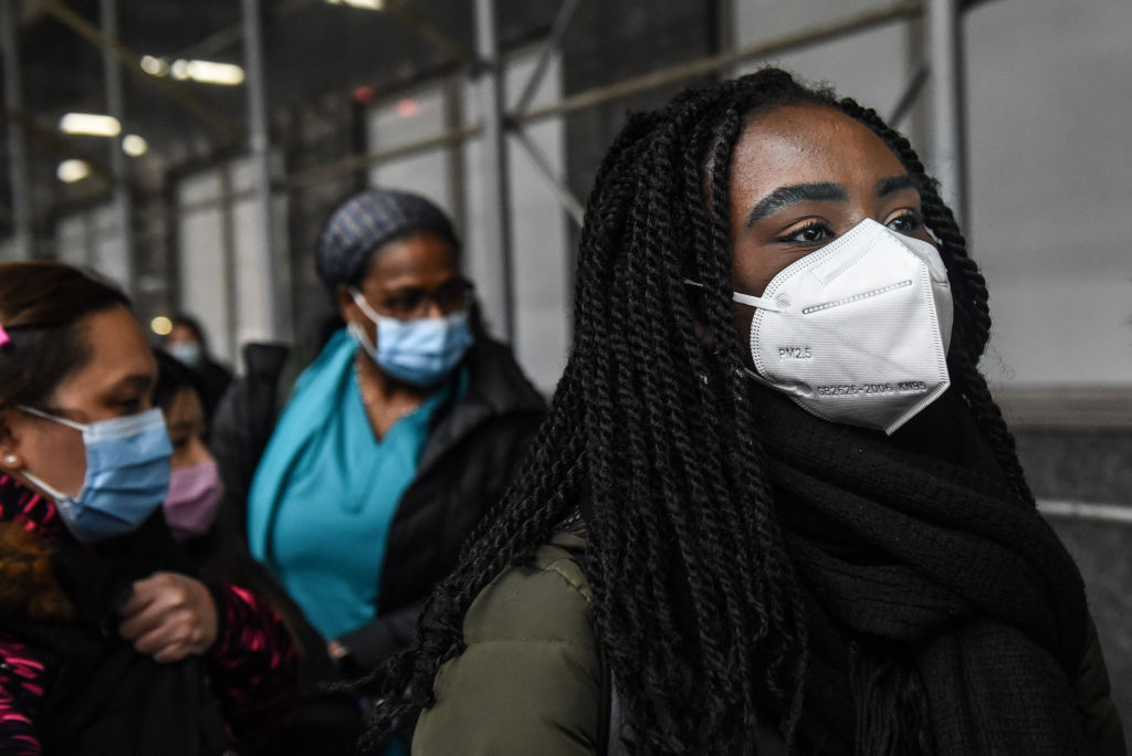 Mt. Sinai medical workers attends a protest on April 3, 2020 in New York City.
