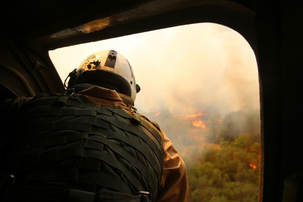 Crews fly over three wildfires burning near Camp Pendleton in San Diego on May 17, 2014.