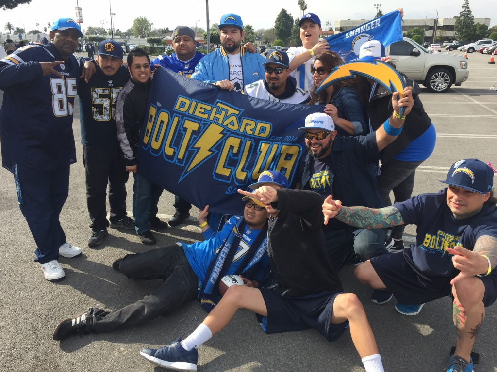 Chargers fans in Inglewood cheer the team's move to Los Angeles.