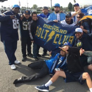 Chargers fans in Inglewood shortly after the announcement that the team was coming to LA.